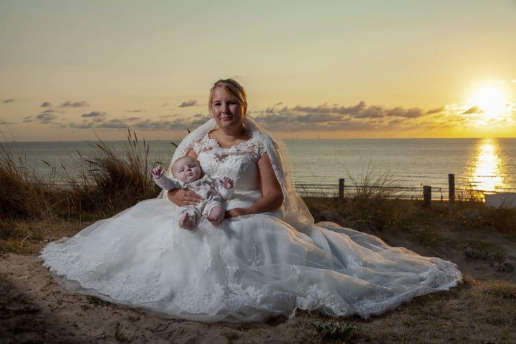 Bruidsreportage van Mela en Jörg bij ondergaande zon