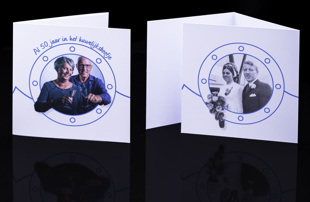 Kaartontwerp uitnodiging 50 jarig huwelijk