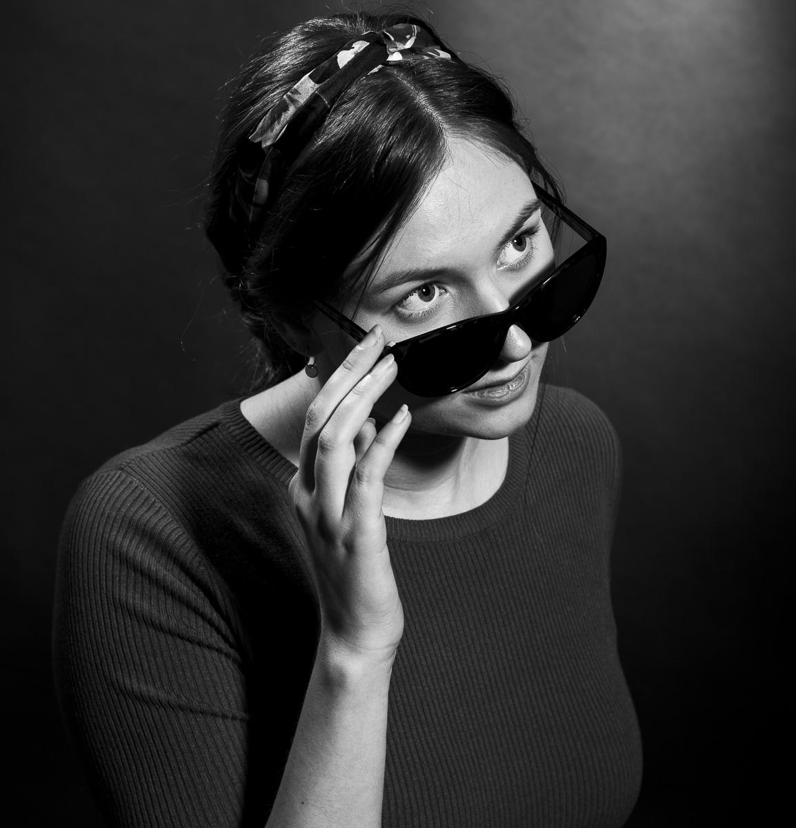 Dana Portfolio Photoshoot Headshot Retro Black and White